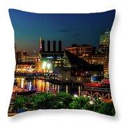 Night View Inner Harbor Throw Pillow