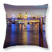 Night View Of Hungerford Bridge And Golden Jubilee Bridges London Throw Pillow