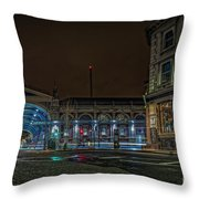 Night View Of Smithfield Market In North London Throw Pillow
