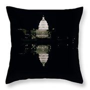 Night View Of The Capitol Throw Pillow