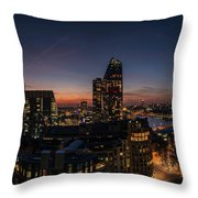 Night View Of The City Of London Throw Pillow