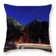 Night View Of The Upper And Lower Yosemite Fall Throw Pillow