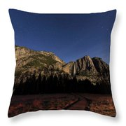 Night View Of The Upper Yosemite Fall Throw Pillow