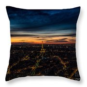 Night View Over Paris With Eiffel Tower Throw Pillow