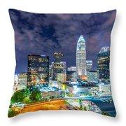 Night View Scenes Around Charlotte North Carolina Throw Pillow