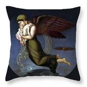 Night With Her Children Throw Pillow