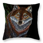 Night Wolf Throw Pillow