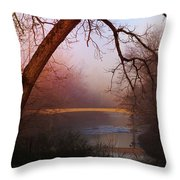 Nightfall At The River Throw Pillow