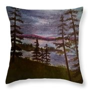 Nightime Rangely Lake Maine Throw Pillow