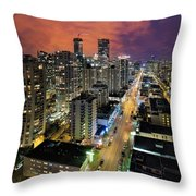 Nightlife On Robson Street Throw Pillow