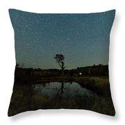 Nightscape And Dam Landscape Throw Pillow