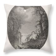 Nightscapes, Dirk Jurriaan Sluyter, After Johannes Hilverdink In Or Before 1870 Throw Pillow