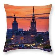 Nightsky Over Stockholm Throw Pillow