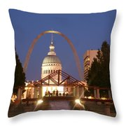 Nighttime At The Arch Throw Pillow