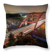 Nighttime Boats Cruise Up And Down The Loop 360 Bridge, A Boaters Paradise With Activities That Include Boating, Fishing, Swimming And Picnicking - Stock Image Throw Pillow