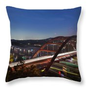 Nighttime Boats Leave Colorful Streaks As They Cruise Up And Down Lake Austin Below The 360 Pennybacker Bridge Throw Pillow