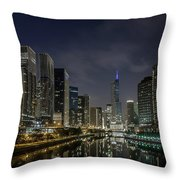 Nighttime Chicago River And Skyline View Throw Pillow