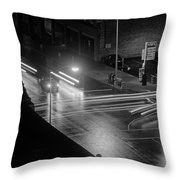 Nighttime Street Scene With Traffic Throw Pillow