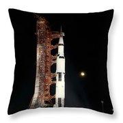 Nighttime View Of The Apollo 12 Space Throw Pillow