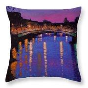 Nighttown Ha Penny Bridge Dublin Throw Pillow by John  Nolan