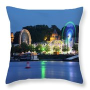 Nijmegen Along The Waal River With A Fairground Throw Pillow