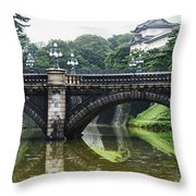 Nijubashi Bridge At Imperial Palace Throw Pillow