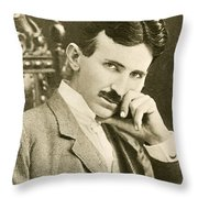 Nikola Tesla, Serbian-american Inventor Throw Pillow