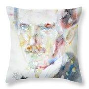 Nikola Tesla - Watercolor Portrait.3 Throw Pillow