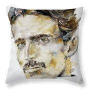 Nikola Tesla - Watercolor Portrait.6 Throw Pillow