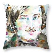 Nikolai Gogol - Watercolor Portrait Throw Pillow