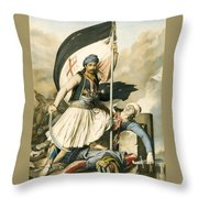 Nikolakis Mitropoulos Raises The Flag With The Cross At Salona On Easter Day 1821 Throw Pillow