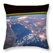 Nile River At Night From Iss Throw Pillow