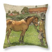Nils Kreuger, 1858-1930, Brunte Picked Up On Sunday Morning Throw Pillow