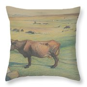 Nils Kreuger, 1858-1930, Cow In The Meadow Throw Pillow