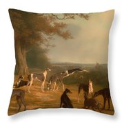 Nine Greyhounds In A Landscape Throw Pillow