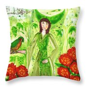 Nine Of Pentacles Illustrated Throw Pillow