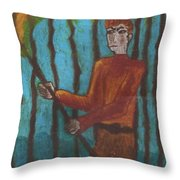 Nine Of Wands Illustrated Throw Pillow