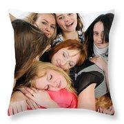 Nine Young Women Throw Pillow