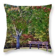 Ninety Six National Historic Site Bench In Autumn  Throw Pillow