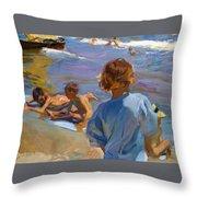 Ninos En La Playa. Valencia Throw Pillow