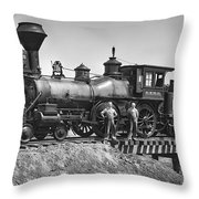 No. 120 Early Railroad Locomotive Throw Pillow