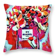No 5 Pink Colored Throw Pillow
