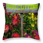 No Cutting Sign In Garden Throw Pillow