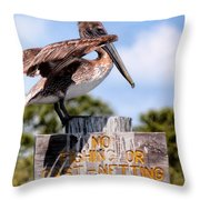 No Fishing Baby Pelican Throw Pillow