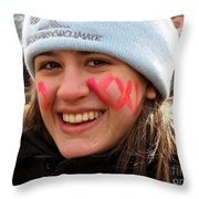 No Kxl Face Paint At Political Demonstration Throw Pillow
