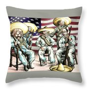 No Mexican Wall, Mister Trump - Political Cartoon Throw Pillow