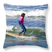 No Stress Surfing Throw Pillow