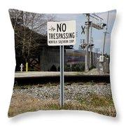 No Trespassing Sign Throw Pillow
