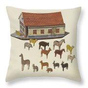 Noah's Ark And Animals Throw Pillow