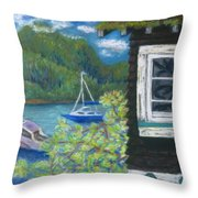 Noble Cottage At The Lake Throw Pillow